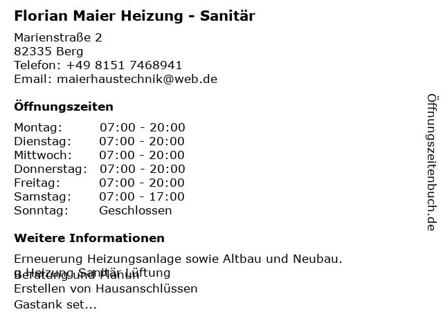 Florian Maier Heizung - Sanitär in Berg: Adresse und Öffnungszeiten