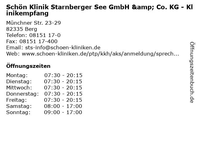 Schön Klinik Starnberger See GmbH & Co. KG - Klinikempfang in Berg: Adresse und Öffnungszeiten