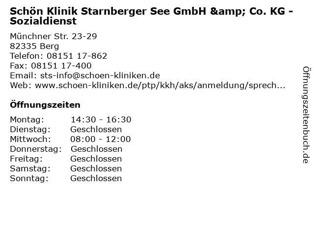 Schön Klinik Starnberger See GmbH & Co. KG - Sozialdienst in Berg: Adresse und Öffnungszeiten