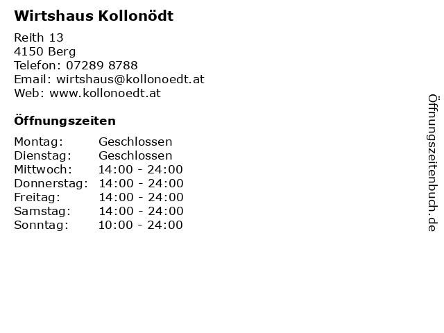 Wirtshaus Kollonödt in Berg: Adresse und Öffnungszeiten