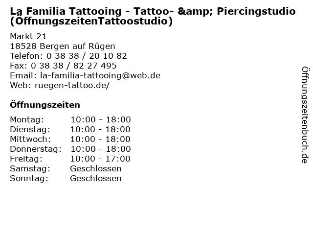 La Familia Tattooing - Tattoo- & Piercingstudio (ÖffnungszeitenTattoostudio) in Bergen auf Rügen: Adresse und Öffnungszeiten