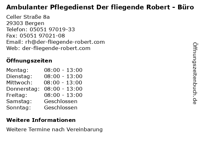Ambulanter Pflegedienst Der fliegende Robert - Büro in Bergen: Adresse und Öffnungszeiten