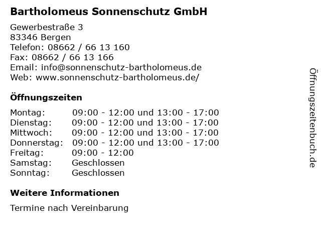 Bartholomeus Sonnenschutz GmbH in Bergen: Adresse und Öffnungszeiten