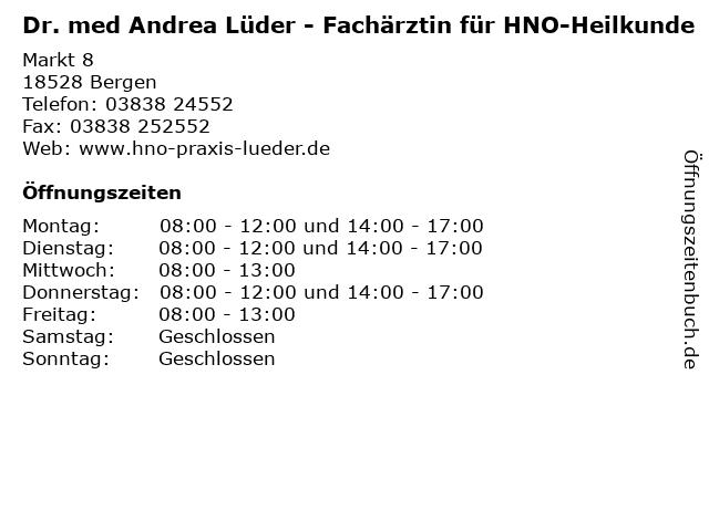 Dr. med Andrea Lüder - Fachärztin für HNO-Heilkunde in Bergen: Adresse und Öffnungszeiten