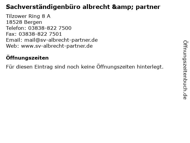 Sachverständigenbüro albrecht & partner in Bergen: Adresse und Öffnungszeiten