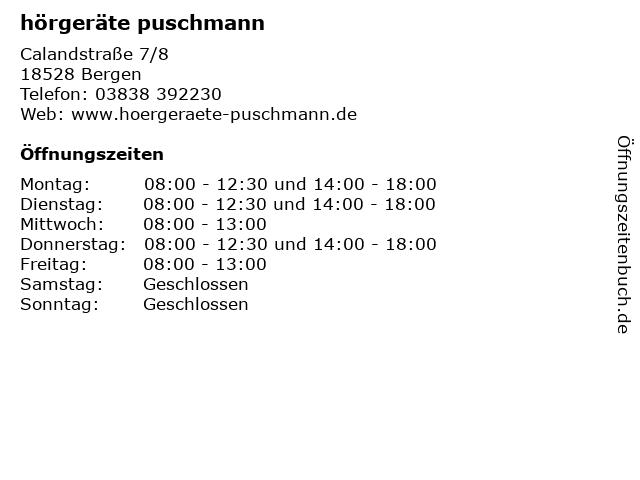 hörgeräte puschmann in Bergen: Adresse und Öffnungszeiten