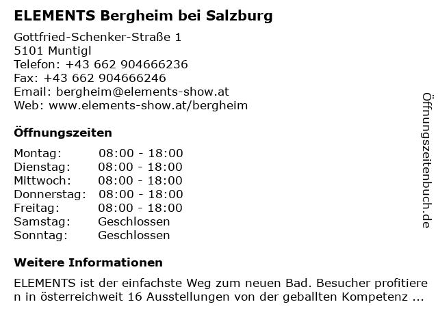 ELEMENTS Bergheim bei Salzburg in Bergheim: Adresse und Öffnungszeiten