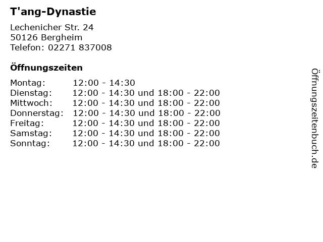T'ang-Dynastie in Bergheim: Adresse und Öffnungszeiten