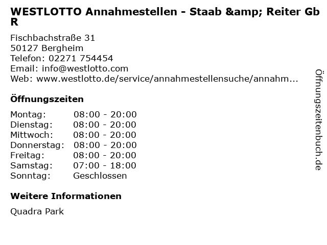 WESTLOTTO Annahmestellen - Staab & Reiter GbR in Bergheim: Adresse und Öffnungszeiten