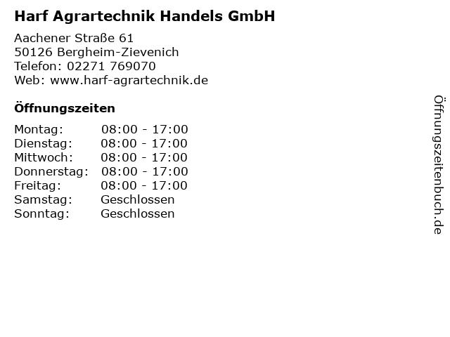 Harf Agrartechnik Handels GmbH in Bergheim-Zievenich: Adresse und Öffnungszeiten