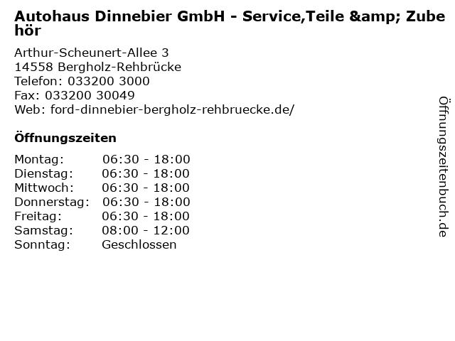 Autohaus Dinnebier GmbH - Service,Teile & Zubehör in Bergholz-Rehbrücke: Adresse und Öffnungszeiten