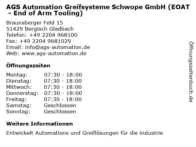 AGS Automation Greifsysteme Schwope GmbH (EOAT - End of Arm Tooling) in Bergisch Gladbach: Adresse und Öffnungszeiten