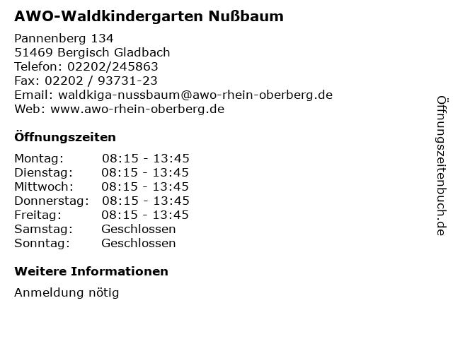 AWO-Waldkindergarten Nußbaum in Bergisch Gladbach: Adresse und Öffnungszeiten