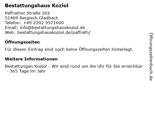Bestattungshaus Koziol in Bergisch Gladbach: Adresse und Öffnungszeiten