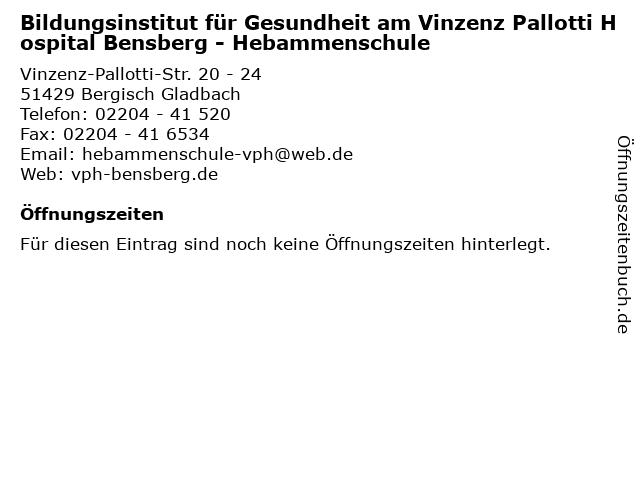 Bildungsinstitut für Gesundheit am Vinzenz Pallotti Hospital Bensberg - Hebammenschule in Bergisch Gladbach: Adresse und Öffnungszeiten