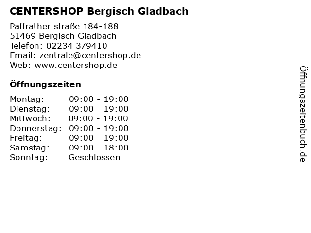 CENTERSHOP Bergisch Gladbach in Bergisch Gladbach: Adresse und Öffnungszeiten