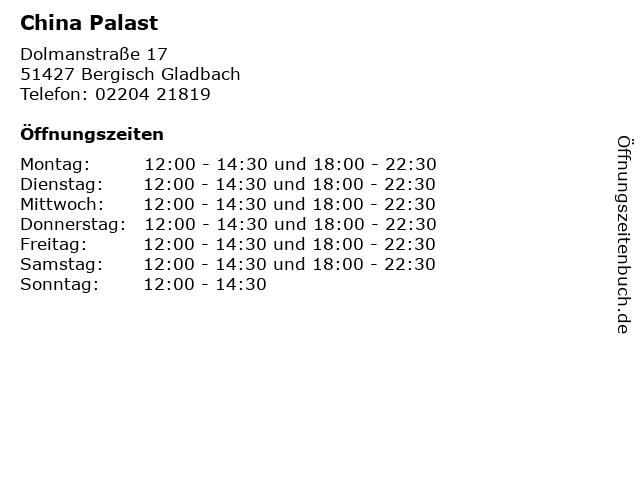 China Palast in Bergisch Gladbach: Adresse und Öffnungszeiten