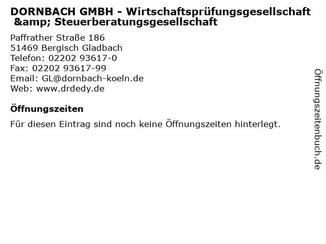 DORNBACH GMBH - Wirtschaftsprüfungsgesellschaft & Steuerberatungsgesellschaft in Bergisch Gladbach: Adresse und Öffnungszeiten