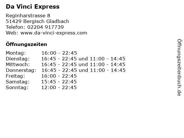 Da Vinci Express in Bergisch Gladbach: Adresse und Öffnungszeiten