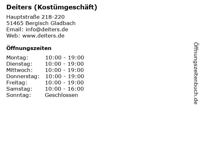 Deiters (Kostümgeschäft) in Bergisch Gladbach: Adresse und Öffnungszeiten