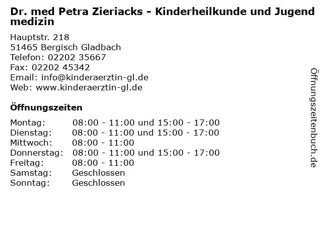 Dr. med Petra Zieriacks - Kinderheilkunde und Jugendmedizin in Bergisch Gladbach: Adresse und Öffnungszeiten