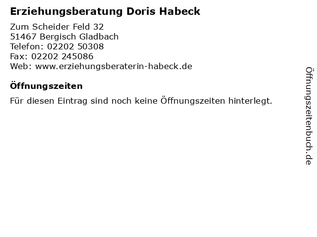 Erziehungsberatung Doris Habeck in Bergisch Gladbach: Adresse und Öffnungszeiten