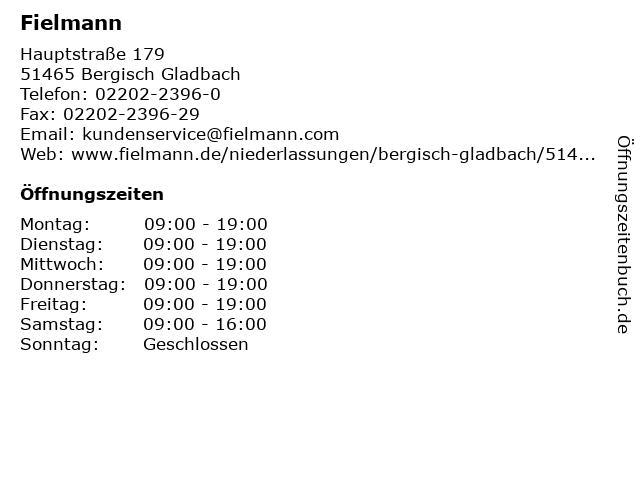 Fielmann in Bergisch Gladbach: Adresse und Öffnungszeiten
