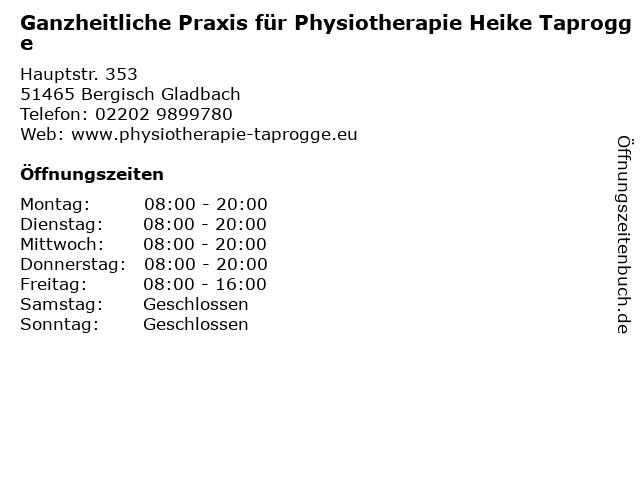Ganzheitliche Praxis für Physiotherapie Heike Taprogge in Bergisch Gladbach: Adresse und Öffnungszeiten
