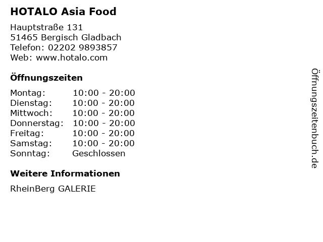 HOTALO Asia Food in Bergisch Gladbach: Adresse und Öffnungszeiten