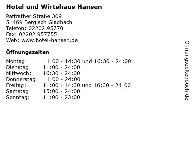 Hotel und Wirtshaus Hansen in Bergisch Gladbach: Adresse und Öffnungszeiten