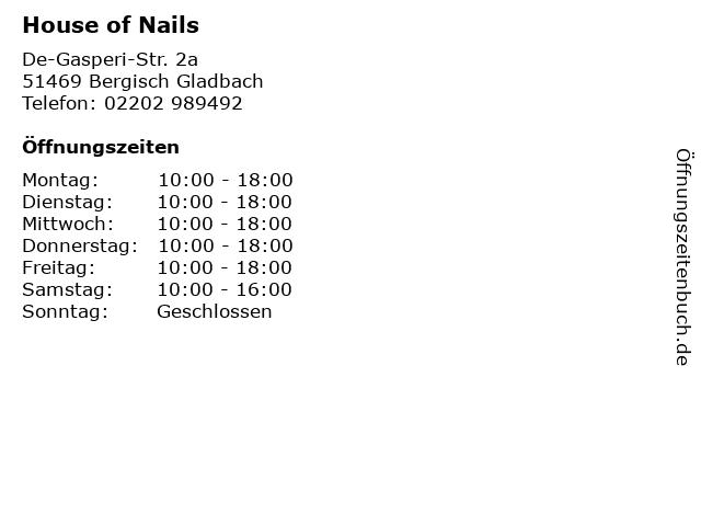 House of Nails in Bergisch Gladbach: Adresse und Öffnungszeiten
