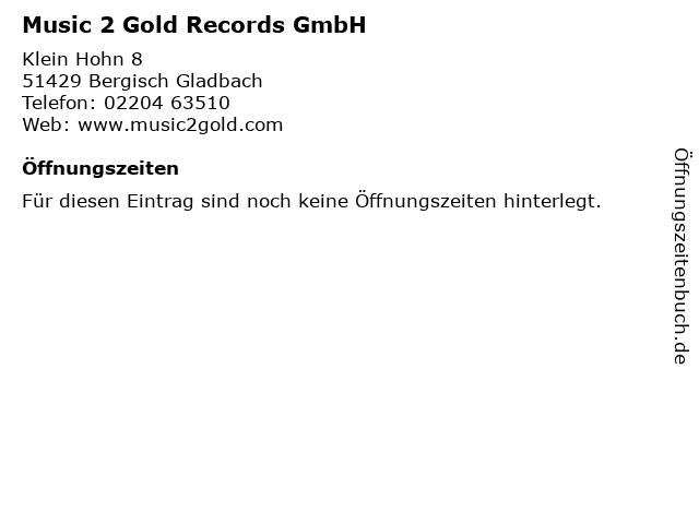 Music 2 Gold Records GmbH in Bergisch Gladbach: Adresse und Öffnungszeiten
