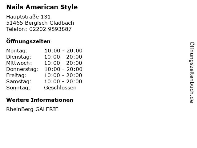 Nails American Style in Bergisch Gladbach: Adresse und Öffnungszeiten