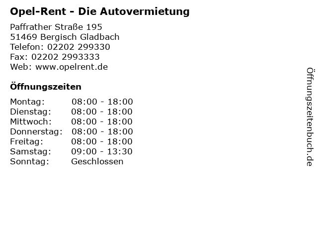 Opel-Rent - Die Autovermietung in Bergisch Gladbach: Adresse und Öffnungszeiten