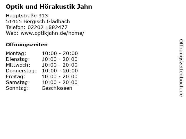 Optik und Hörakustik Jahn in Bergisch Gladbach: Adresse und Öffnungszeiten