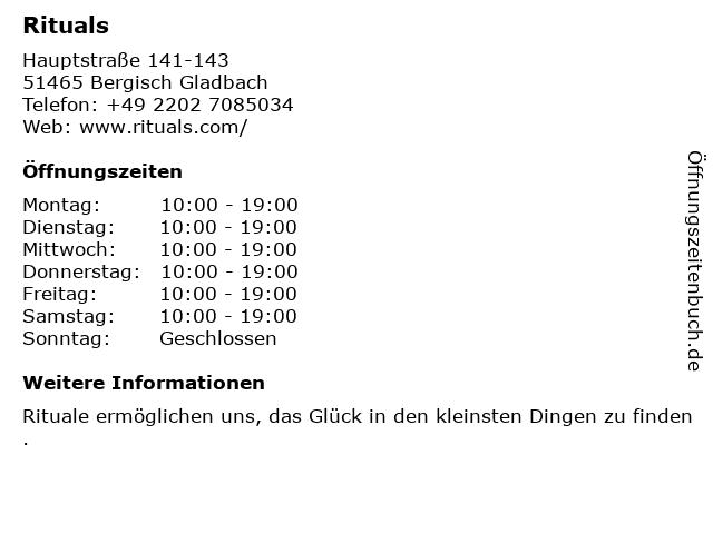 RITUALS Cosmetics Germany GmbH in Bergisch Gladbach: Adresse und Öffnungszeiten