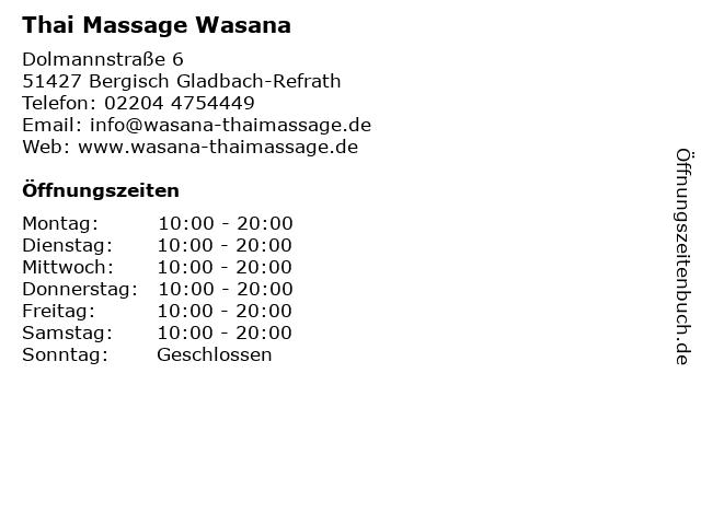 Thai Massage Wasana in Bergisch Gladbach-Refrath: Adresse und Öffnungszeiten