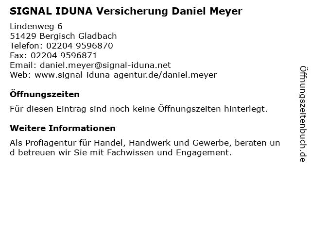SIGNAL IDUNA Versicherung Daniel Meyer in Bergisch Gladbach: Adresse und Öffnungszeiten