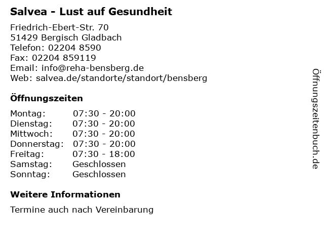 Salvea - Lust auf Gesundheit in Bergisch Gladbach: Adresse und Öffnungszeiten