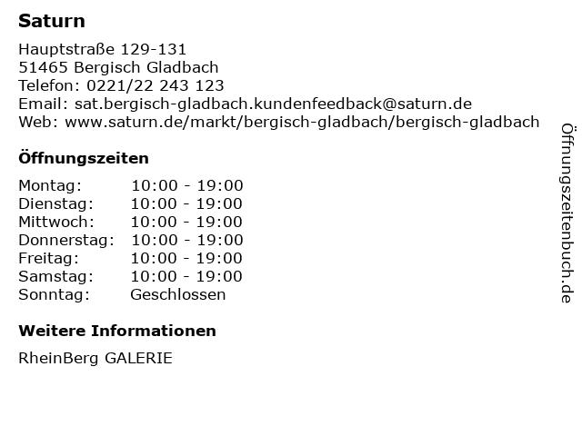 Saturn in Bergisch Gladbach: Adresse und Öffnungszeiten