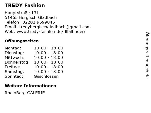 TREDY Fashion in Bergisch Gladbach: Adresse und Öffnungszeiten
