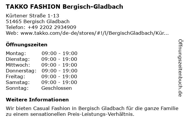 Takko Fashion in Bergisch Gladbach: Adresse und Öffnungszeiten