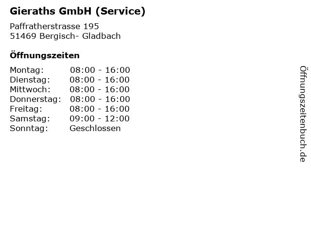 Gieraths GmbH (Service) in Bergisch- Gladbach: Adresse und Öffnungszeiten