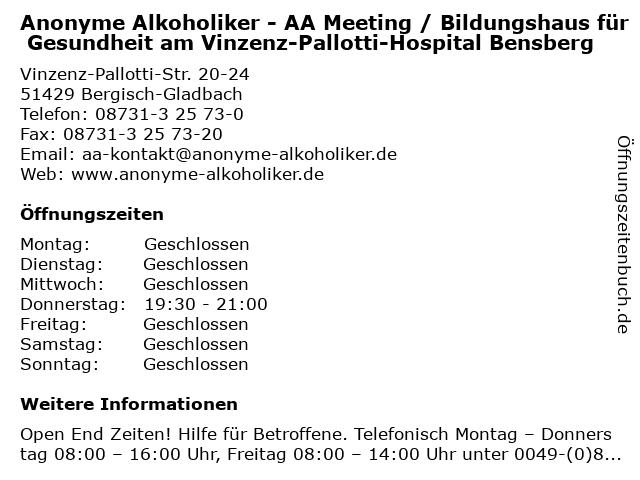 Anonyme Alkoholiker - AA Meeting / Bildungshaus für Gesundheit am Vinzenz-Pallotti-Hospital Bensberg in Bergisch-Gladbach: Adresse und Öffnungszeiten
