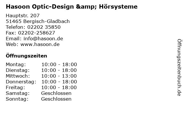 Hasoon Optic-Design & Hörsysteme in Bergisch-Gladbach: Adresse und Öffnungszeiten