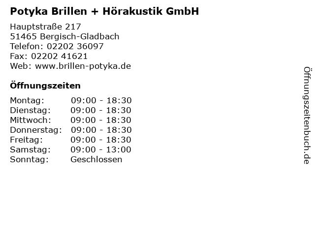 Potyka Brillen + Hörakustik GmbH in Bergisch-Gladbach: Adresse und Öffnungszeiten