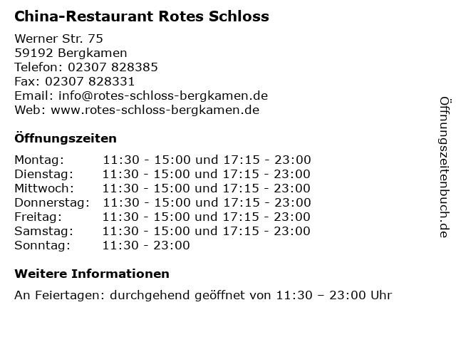 ᐅ Offnungszeiten China Restaurant Rotes Schloss Werner Str 75