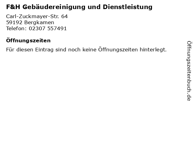 F&H Gebäudereinigung und Dienstleistung in Bergkamen: Adresse und Öffnungszeiten