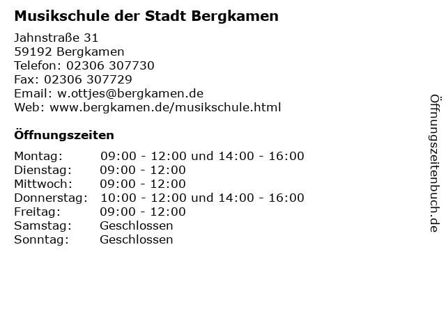 Musikschule der Stadt Bergkamen in Bergkamen: Adresse und Öffnungszeiten
