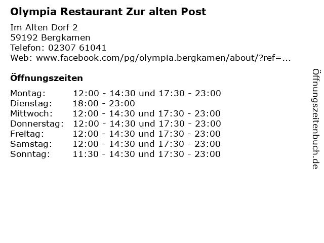 Olympia Restaurant Zur alten Post in Bergkamen: Adresse und Öffnungszeiten